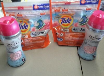 Tide Pods 12 ct. 2 pack 24 pods total and 2 Downy Unstoppables April Fresh Scent