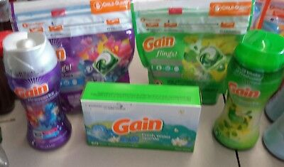 2 Pack Gain Flings 28 pods total with 2 scent booster 6.5 oz  60 dryer sheets