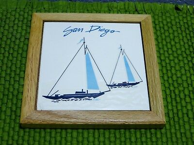 Vtg  80s SAN DIEGO CALIFORNIA Souvenir Tile Trivet  My Personal Collection