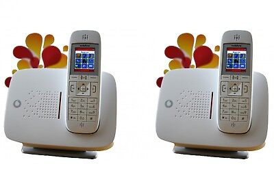 X2 VODAFONE CORDLESS Unlocked Wireless Gsm Desk Phones Pstn Land Line *2  Phones*