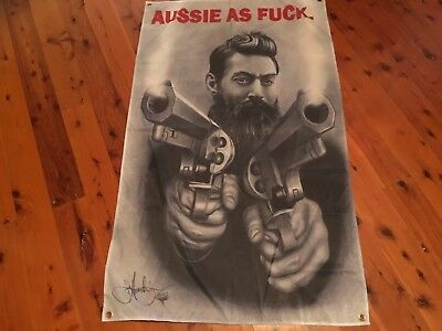 Man cave flag ned kelly flag BUNDY rum Harley Aussie biker outlaw biker triumph