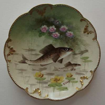 Vintage AK Limoges France Hand Painted Fish Plate, SIGNED