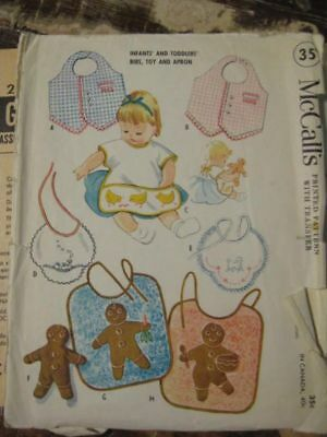 vintage sewing pattern BABY TODDLER BIB apron gingerbread embroidery McCall 2316
