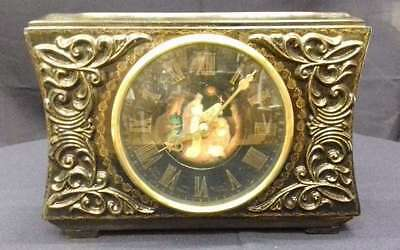Fireplace clock, Russian lacquer painting, signed!// Art. 174