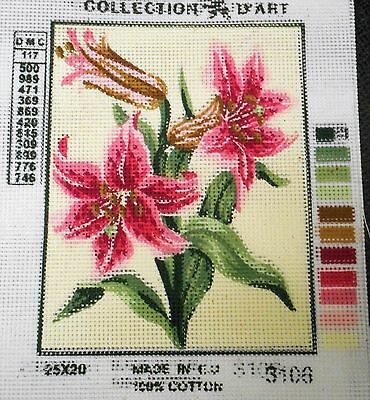 PINK FLOWERS (TIGER LILIES?) - Tapestry to Stitch (NEW) by Collection D'Art
