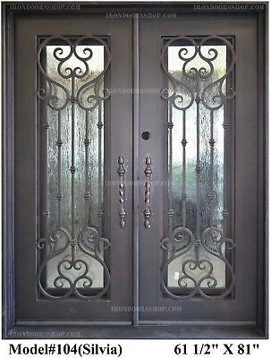 Silvia Wrought Iron Double doors Operable Glass with Iron Pulls