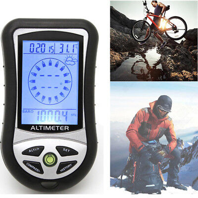 1X 8in1 Handheld Digital Electronic Altimeter Altitude Gauge Thermometer Compass