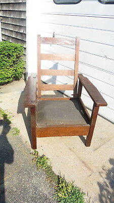 Mission Oak Morris Chair pegged construction  Stickley style