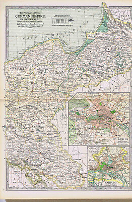GERMAN EMPIRE - Eastern Part -1897 Highly Detailed Antique Color Map