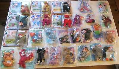 Lot of 28 McDonalds Happy Meal Ty Beanie Babies New in Package 90s Animals  Plush be714a190ce