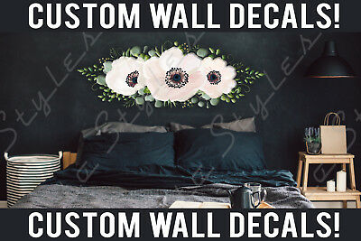 Bed Room Living Wall Bohemian Floral Flowers Decals Stickers Kids Decor Vinyl