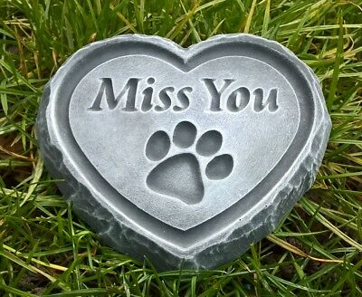 Miss You PET PAW DOG, CAT, HORSE - ENGRAVED STONE Heart Memorial Garden Plaque