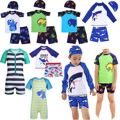 Kid Baby Boy Swimwear Sun Protective Swimsuit Rah Guard Costume Bathing Suit Set