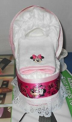 Minnie Mouse Diaper Cake Bassinet Baby Shower Gift Centerpiece