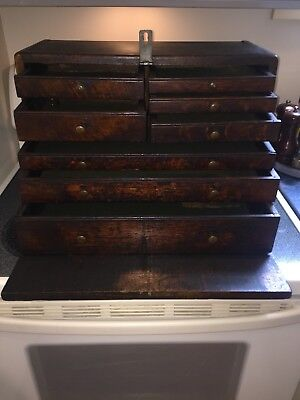 Gorgeous-Antique-Handmade Wooden Machinist Toolchest-20.75x10x13.75-27 Lbs!