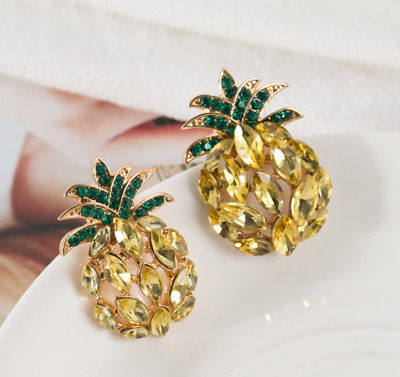 New Yellow Crystal Ancient Gold Long Ear Stud Hoop tassels Pineapple earrings
