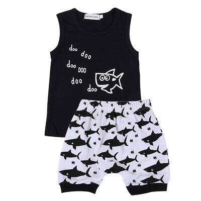 Toddler Baby Boys Shark Outfit T-shirt Tops+Shorts Pants Summer Casual Clothes