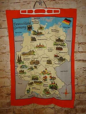 Vintage Deutschland Germany Wall Hanging Fabric Table Cloth Print Map Souvenir