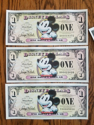 All three 2008 A-D-T $1 Mickey Disney Dollar Set - Some Low 4-digit SNs