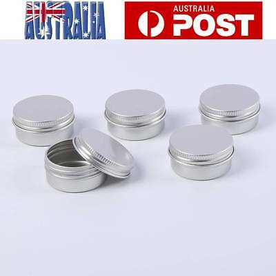 5pcs Aluminium Empty Cosmetic Pot Lip Balm Jar Tin Container Silver Box 20ml AU