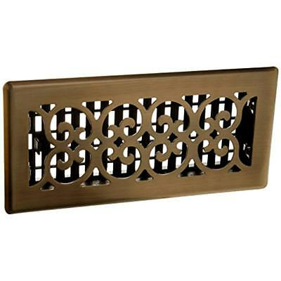 SPH410-A 4-Inch By 10-Inch Scroll Floor Register, Antique Brass Registers Vents