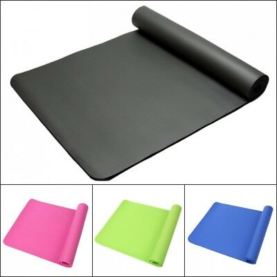 61 x 185cm Yoga Mat 10mm Thick Gym Exercise Fitness Pilates Workout Mat Non-Slip