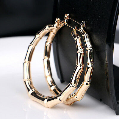Vintage Women Punk Gold Bamboo Big Hoop Large Round Circle Earrings Jewelry Gift