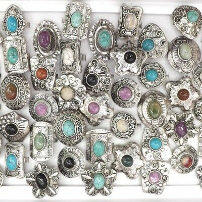 Mix Lot Vintage Natural Stone Rings Adjustable Chinese Ancient Style Rings 50pcs