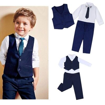 Kids Boys Gentleman Formal Outfits Shirt Waistcoat Vest Pants School Party Suit