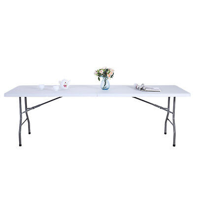 Kenwell 8FT White Portable Folding Table Indoor Outdoor Camp Party Picnic Table