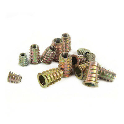 10Pcs M4 M5 M6 M8 Thread For Wood Insert Nut Flanged Hex Drive Head Furniture