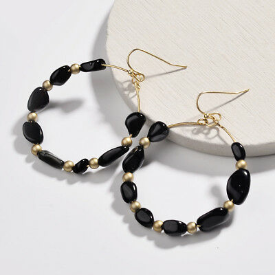 Fashion Trendy Multi Mini Natural Stone Wire Beads Circle Drop Earring for Women