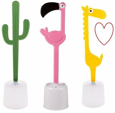 Novelty Toilet Brush Bathroom Flamingo Holder Funny W/C