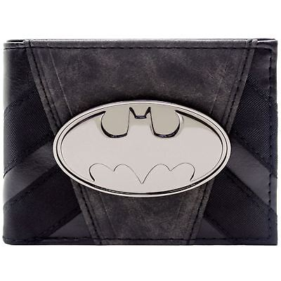 New Official Dc Batman Metallic Badge Striped Suit Up Black Id & Card Wallet