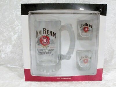 Jim Beam boxed set. - glass Beer Stein and 2 Shot Glasses