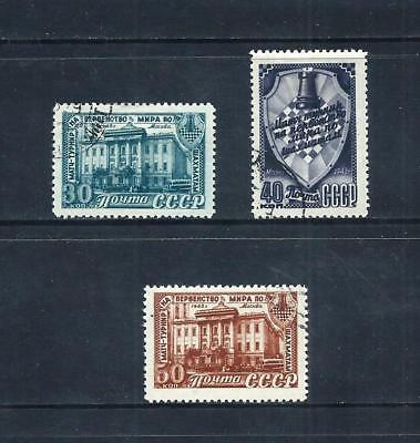 RUSSIA _ 1948 'WORLD CHESS' SET of 3 _ used ____(543)