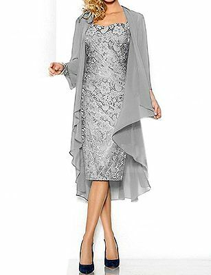 2 Piece Lace Applique Mother Of the Bride Dress With Chiffon Jacket Knee Length