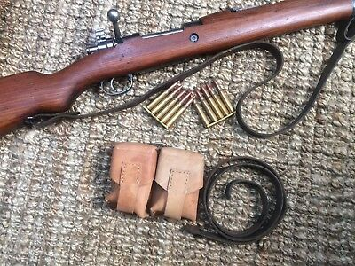 Yugo Mauser leather sling and leather ammo pouch m24 m24/47 8mm good used