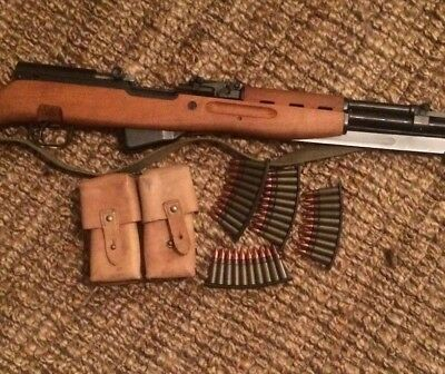 2 Vintage YUGOSLAVIAN SKS M59/66 Leather Dual Cell Ammo Pouches 762x39 good used