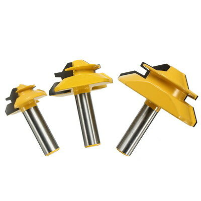 3PCS 1/2'' Shank Carbide Lock Miter Router Bit 45° Jointing Cutter Woodworking