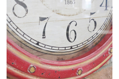 Large RED Industrial Metal Rustic Wall Mounted Clock Vintage Antique Style New