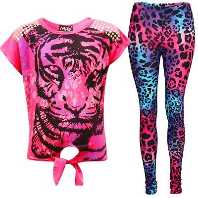 New Girls Tiger Face Print Party Fashion Top T Shirt & Leopard Legging Set 7-13