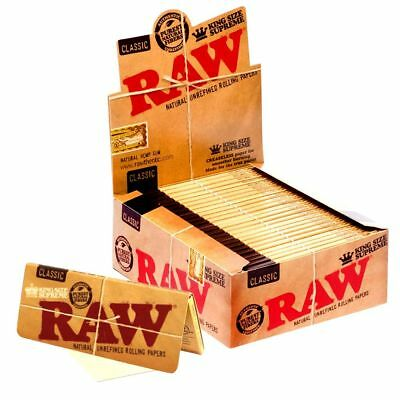 RAW King Size SUPREME Rolling Papers 19 packs in Box Natural Smoking Rizla Skins
