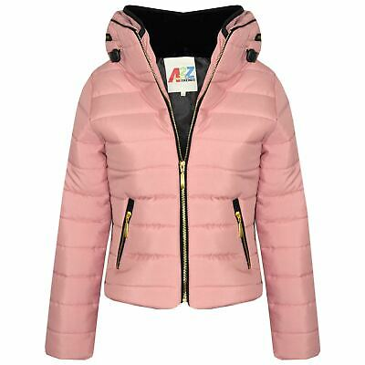 Girls Jacket Kids Quilted Padded Puffer Bubble Fur Collar Warm Thick Coats 3-13Y
