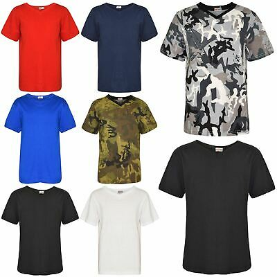 Kids Boys Designer 100% Cotton Plain T-Shirt Tee Ringspun T Shirts New Age 2-13Y