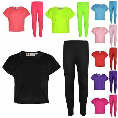 Girls Top Kids Plain Color Stylish Crop Top & Fashion Legging Set Age 7-13 Years