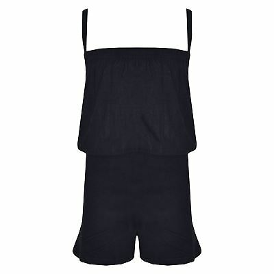 Kids Girls Plain Black Color Playsuit Trendy All In One Jumpsuit New Age 5-13 Yr
