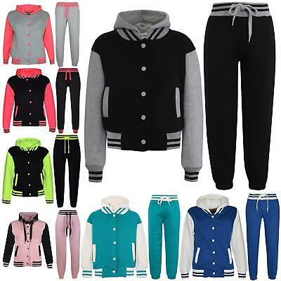 Kids Tracksuit Girls DESIGNER Baseball Plain Top Bottoms Jogging Suits 7-13 Yr