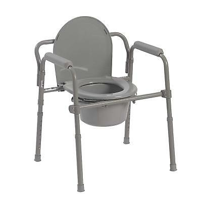 Adult Toilet Seat Portable Bedside Commode Chair Drive Medical Steel Folding NEW
