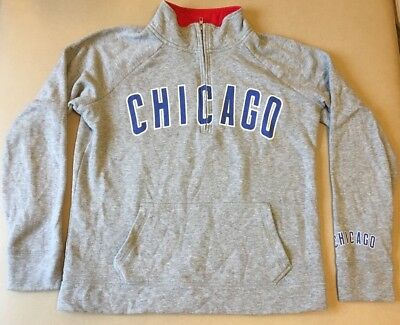 PINK Victorias Secret Chicago Cubs MLB Half Zip Crew Pullover Sweatshirt Sz M